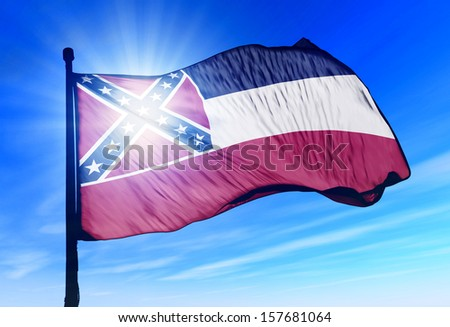 Mississippi (USA) flag waving on the wind - stock photo