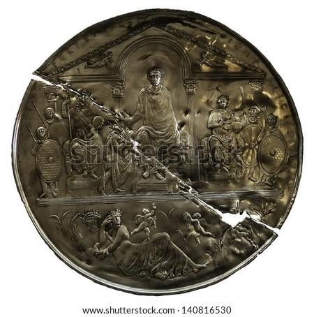 Missorium of Theodosium I. IV century, commemorates the 10 years of reign of the emperor of Roman Empire. Copy - stock photo