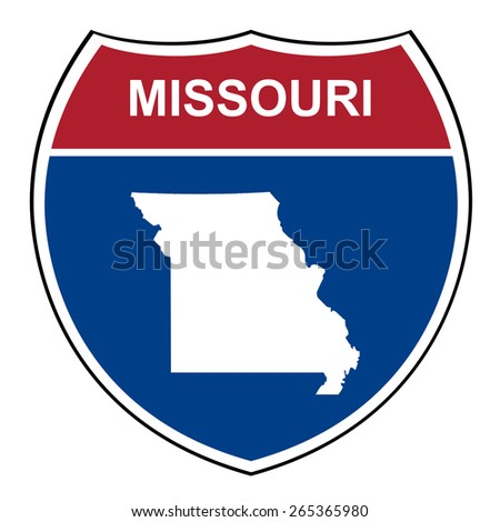 Missouri American interstate highway road shield isolated on a white background. - stock photo