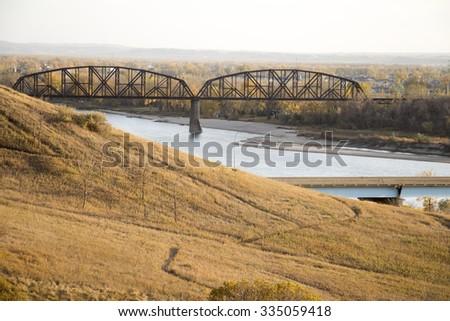 Missouri River railroad bridge  - stock photo