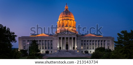 Missouri State Capitol at night in Jefferson City, Missouri - stock photo