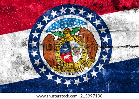 Missouri State Flag painted on grunge wall - stock photo