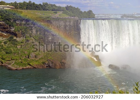 Mist and Rainbow over Niagara Falls, Canadian-American border