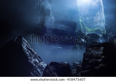 Mist at cave entrance in Son Doong Cave, the largest cave in the world in UNESCO World Heritage Site Phong Nha-Ke Bang National Park, Quang Binh province, Vietnam