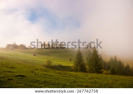 Mist at dawn over the pasture in the Carpathian Mountains - stock photo