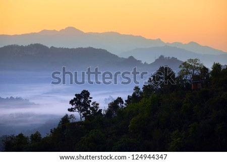 Mist on the natural mountain