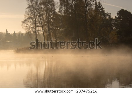Mist over a lake after a frosty night