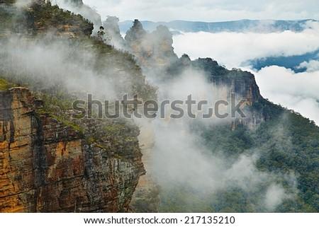 Mist rising in the Blue Mountains - stock photo