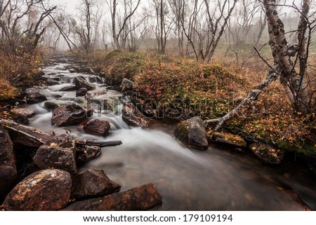 mist river in autumn in Lapland - stock photo