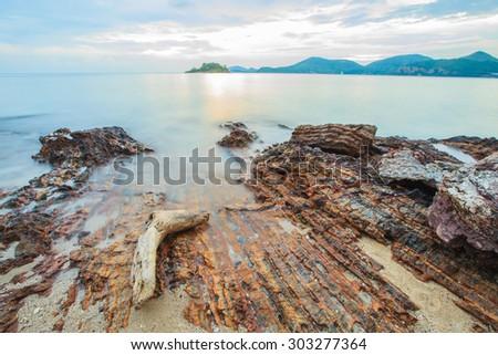 Mist Sea and Stone  - stock photo