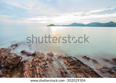 Mist Sea Landscape,Beautiful Golden sunset Tropical  Beach Chon Buri Thailand - stock photo