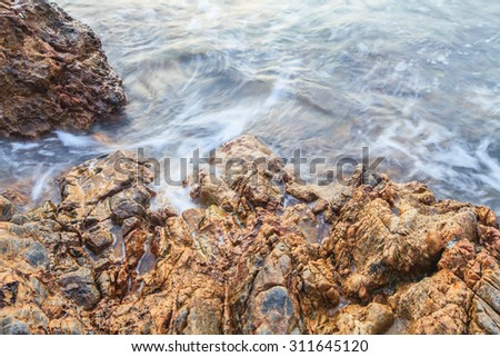 Mist sea stone.  - stock photo