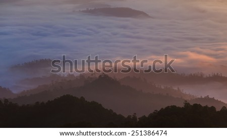 Mist with big mountain in the morning