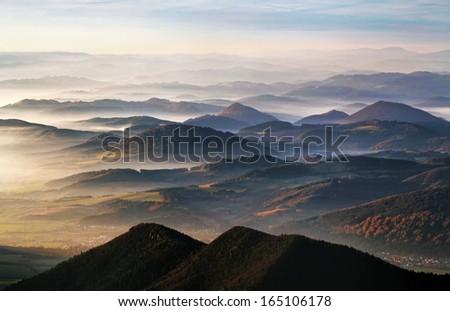 Mist with many peak - Slovakia, Kysuce country - stock photo