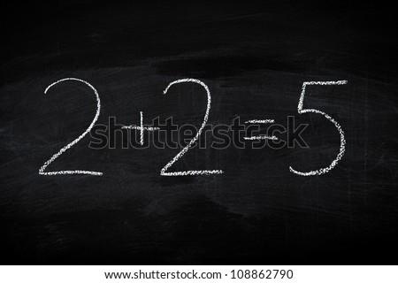 Mistake in math formula on chalkboard - education concept illustrated on blackboard - stock photo