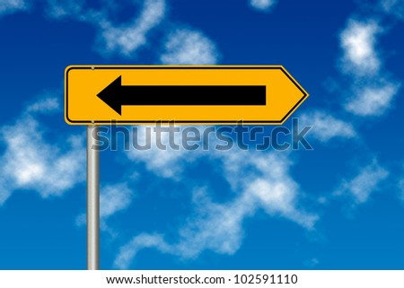 Mistake with road sign on a sky background - stock photo