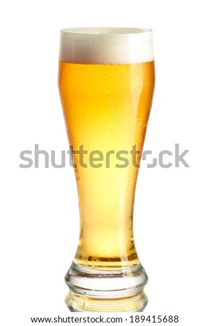 Misted glass of light beer.