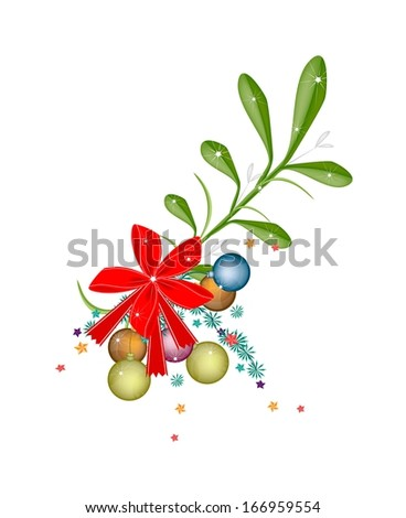 Mistletoe Bunch and Christmas Balls or Christmas Ornament with A Christmas Red Ribbon For Christmas Celebration, Isolated on White Background  - stock photo