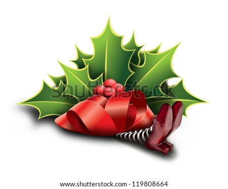 mistletoe crushing the wicked witch - stock photo