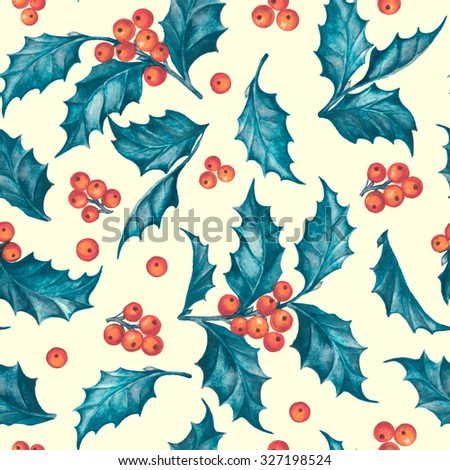 Mistletoe seamless pattern for christmas theme. Seamless christmas background with mistletoe branches. Watercolor painting. Watercolor handmade floral seamless pattern set with Christmas mistletoe. - stock photo