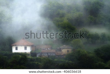 mists house - stock photo