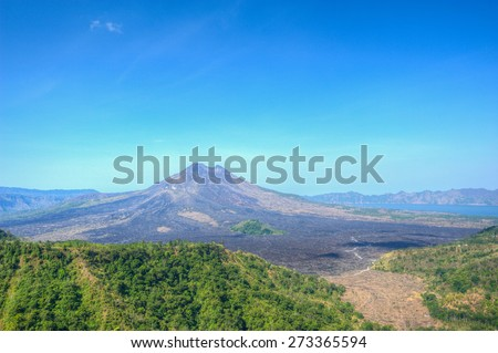 Misty Batur Volcano Mountain from Kintamani, Bali, Indonesia - stock photo