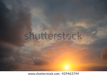 Misty clouds on the sunset background. Natural natural composition