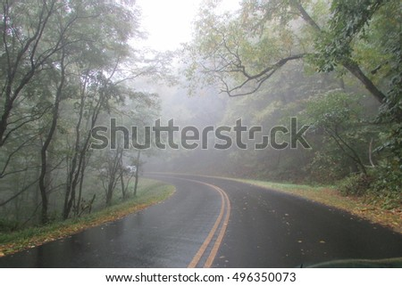 Misty country road