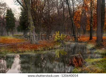Misty dawn over Lake Forest .Fog and lake at dawn in fall .autumn morning at a forest lake with fog and beautiful warm colors - stock photo