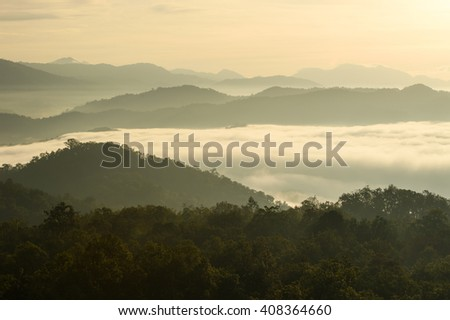 Misty dreamy landscape. Deep misty valley in autumn park full of heavy clouds of dense fog. Umphang,Thailand - stock photo