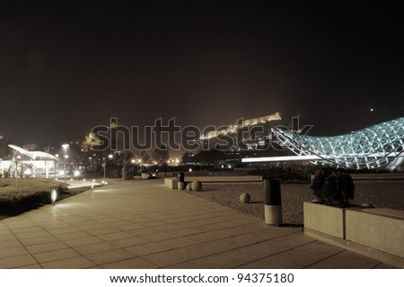 Misty evening over the Old Tbilisi, Republic of Georgia - stock photo