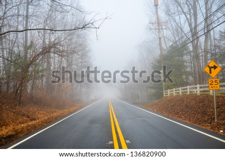 Misty foggy forest road - stock photo