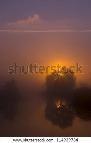 Misty lake on a summer - stock photo