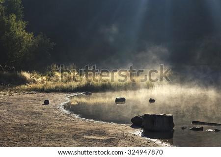 Misty lakeside in sunlight - stock photo
