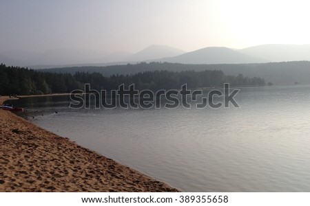 Misty Loch Morlich - stock photo