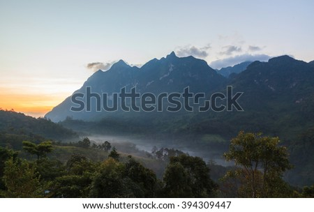 Misty morning along big mountain, Doi Luang in Thailand
