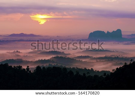 Misty morning at Panorama Hill. - stock photo