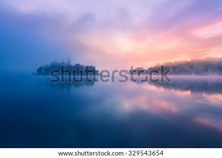 Misty morning in lake Bled-Slovenia - stock photo