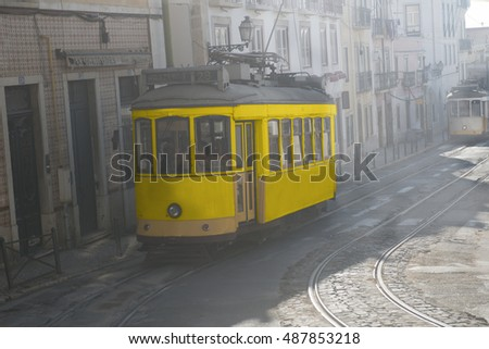 Misty morning in Lisbon. Tram 28