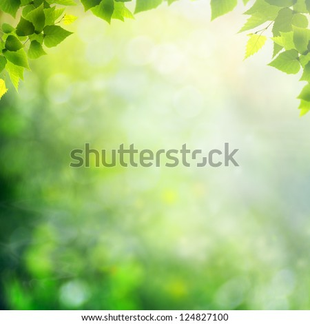 Misty morning in the forest, abstract natural backgrounds - stock photo