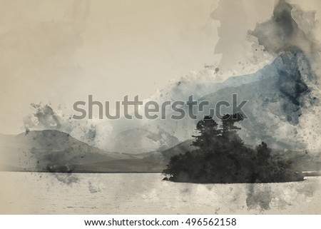 Misty morning landscape over still lake with mountain range in background watercolour painting