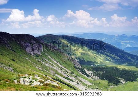 misty morning mountainside (Carpathian Mt's, Ukraine) - stock photo