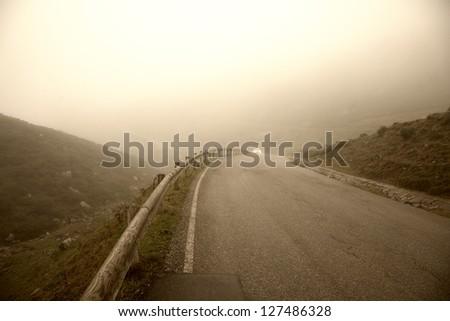 Misty morning near Lago Enol in the mountains of Picos de Europa - Asturias, Spain. - stock photo