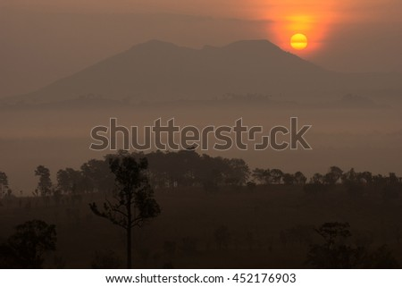 Misty morning sunrise at Thung Salang Luang National Park Phetch