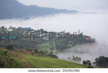 misty morning sunrise in mountain at Khao-kho Phetchabun,Thailand - stock photo