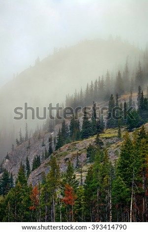 Misty mountain in Banff National Park - stock photo