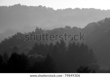 Misty Mountain Sunrise, Webster County, West Virginia, USA