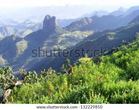 Misty mountains. Shot in Ethiopia. - stock photo