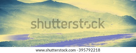Misty mountains with weather front moving onshore near Cannon Beach,   Oregon Coast - stock photo