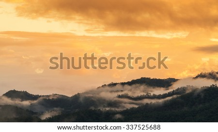 Misty over forest on the mountains slope in a nature morning time - stock photo
